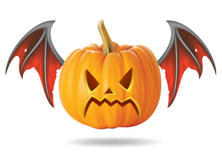 Halloween pumpkin with scary face on  white Stock Vector - 22172399