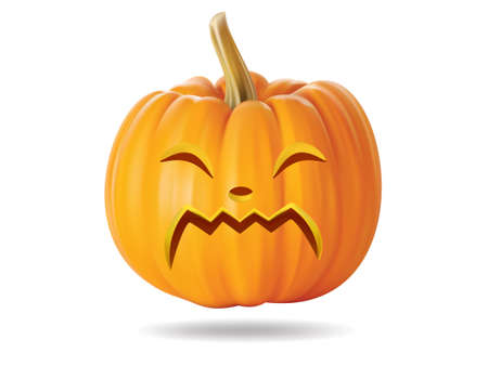 Halloween pumpkin with funny face on  white Stock Vector - 22172400