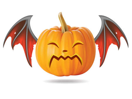 Halloween pumpkin with funny face on  white Stock Vector - 22172406