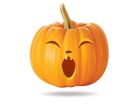 Halloween pumpkin with funny face on  white Stock Vector - 22172407