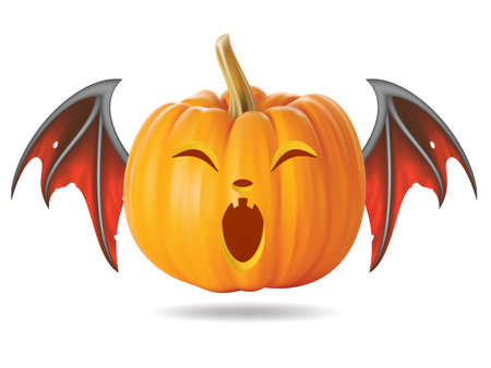 Halloween pumpkin with funny face on  white Vector