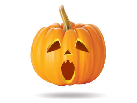 Halloween pumpkin with scary face on  white Stock Vector - 22172411