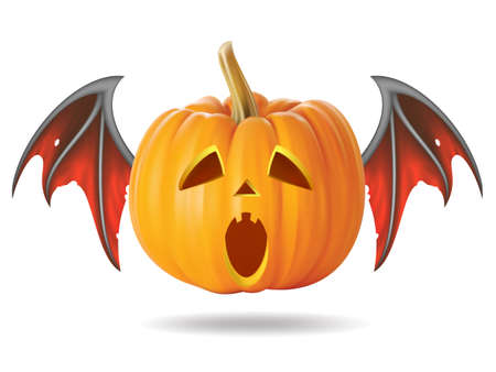 Halloween pumpkin with scary face on  white Vector