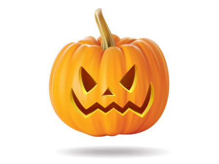 Halloween pumpkin with scary face on  white Stock Vector - 22172413