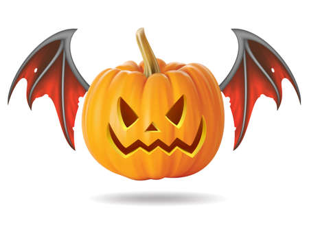 Halloween pumpkin with scary face on  white Illustration