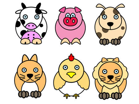 moggy: set of cute animal cartoons (cow, pig, dog, cat, chicken, lion)
