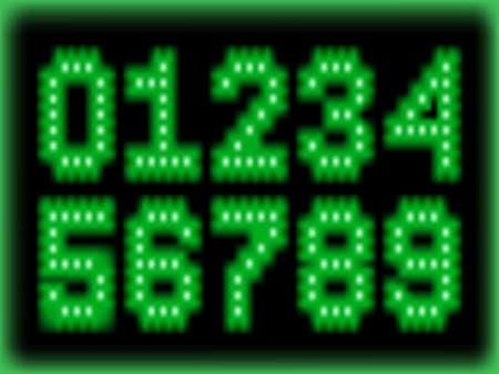 lighten: set of mumberin digital green light style Illustration