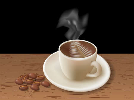vapour: Cup of coffee with coffee grain. Photo-realistic vector.