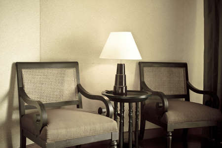 interior scene with classic armchair and lamp   photo