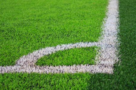 green grass soccer field. The Corner Of Soccer Field With Green Grass Stock Photo - 22928588 B