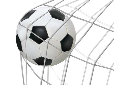Vector illustration of soccer ball hitting on net
