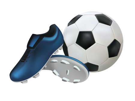 Football shoes and a football isolated on white background