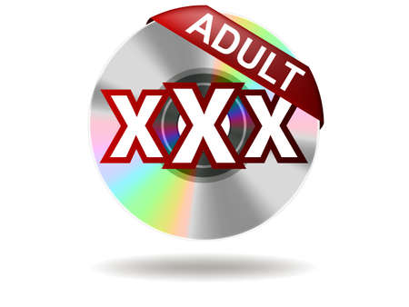Adult Label on compact disc   Adult Rate  Vector