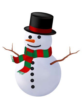 smiling snowman with a red scarf and hat. isolated on a white background photo