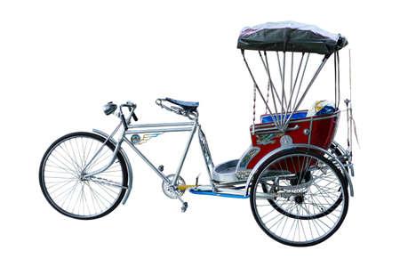 trishaw: Thailand rickshaw three - wheeler on white background.  Stock Photo