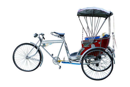 Thailand rickshaw three - wheeler on white background.  Stock Photo