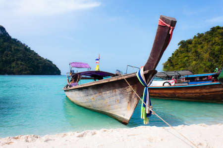 Travel background. Traditional long tail boats Stock Photo