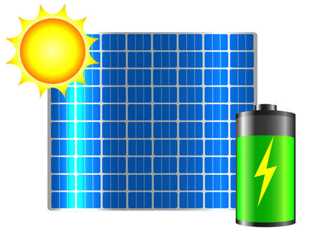 clean energy: Clean energy. Solar panel, sun and battery