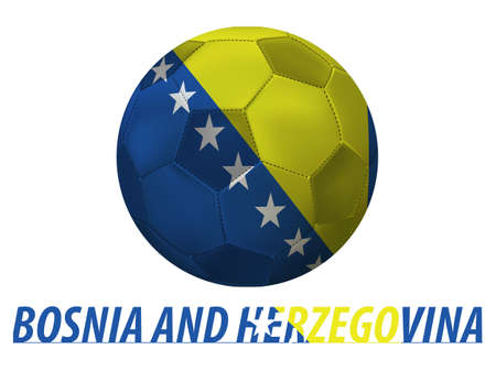 Soccer ball with bosnia and herzegovina flag isolated in white  Vector