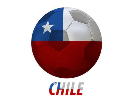 bandera de chile: Bal�n de f�tbol con Chile pabell�n aislado en blanco Vectores