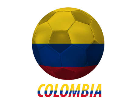 qualify: Soccer ball with colombia flag isolated in white