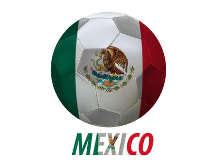 Soccer ball with  Mexico flag isolated in white  Vector