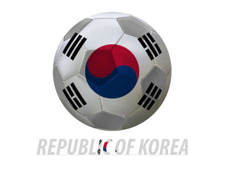 qualify: Soccer ball with republic of korea flag isolated in white