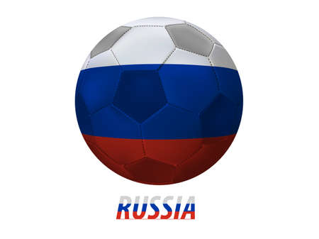 Soccer ball with russia flag isolated in white  Vector