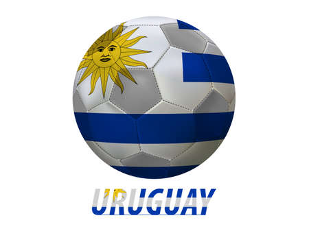 Soccer ball with uruguay flag isolated in white  Vector