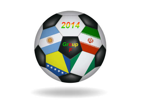 Soccer ball with flag isolated on white  Vector