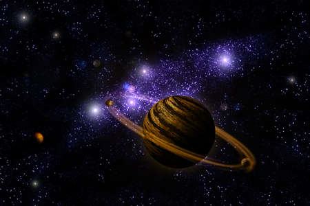 Planet Deep in Space, galaxy and universe Stock Photo