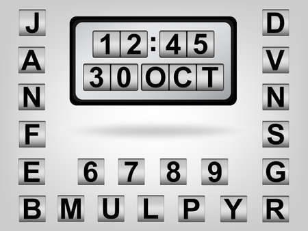 The scrolling clock & calendar show 30 OCT Vector