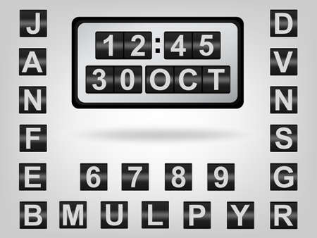 clicker: The scrolling clock & calendar show 30 OCT Illustration