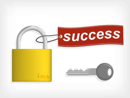 달성: 성공의 열쇠. 키 성공 라벨