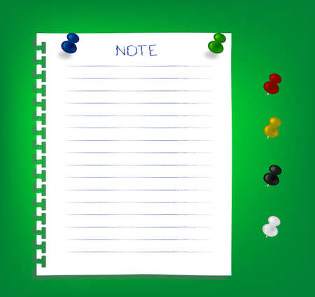 The white reminder notes paper with pins Vector