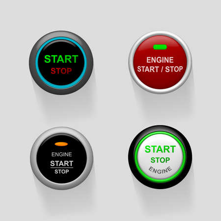Set of start stop engine buttons