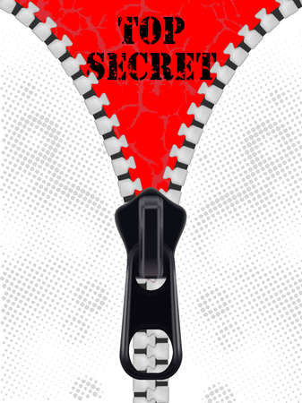 Top secret background with closing the zipper  Vector