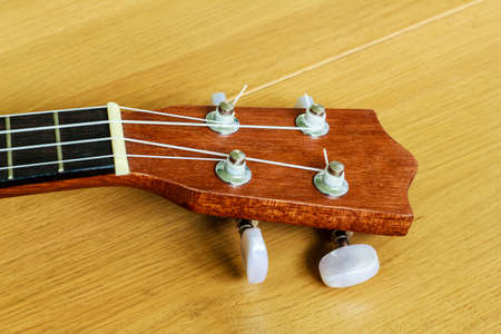 horizontals: An ukulele on wood background , small guitar