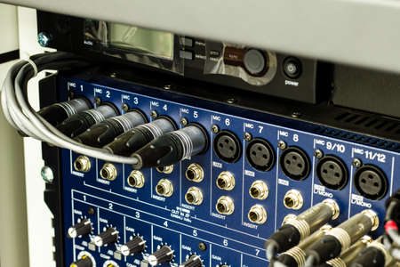phono: Audio connectors on a sound mixer panel Stock Photo