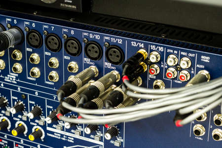 sound mixer: Audio connectors on a sound mixer panel Stock Photo