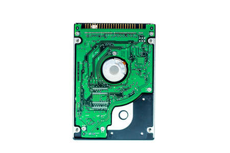 ide: real open hard drive isolated on white background