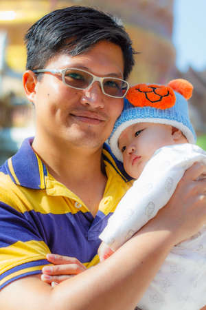 Dad and baby in lovely hug , happy family Stock Photo