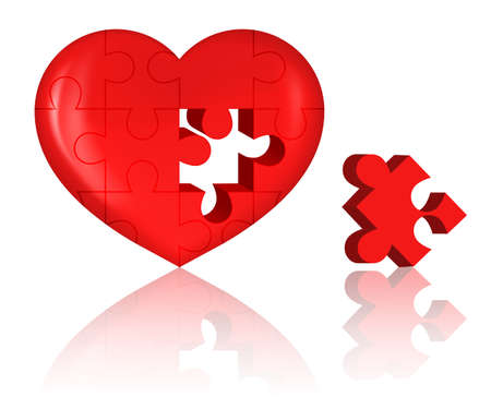 illustration of jigsaw puzzle heart on white background Vector