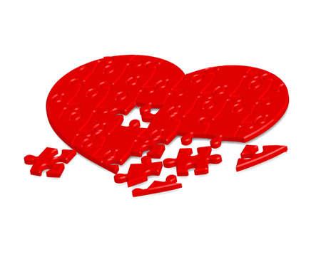 bevel: illustration of jigsaw puzzle heart on white background