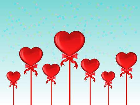 st valentins day: Cuori rossi con fiocco su sfondo blu Vettoriali