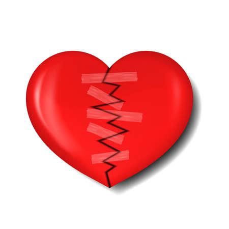 abandono: ilustraci�n de coraz�n roto con yeso para reparaci�n