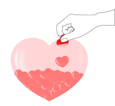 Piggy Bank and Red Heart, Concept of love Vector