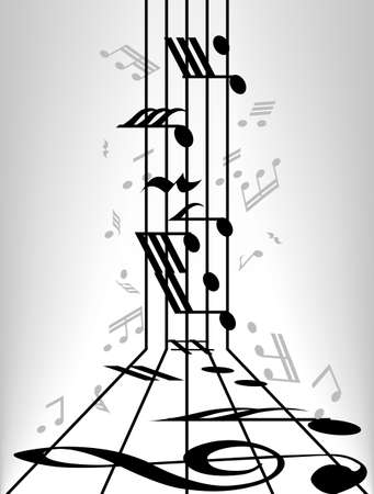 crotchets: abstract of musical notes staff background, Illustration