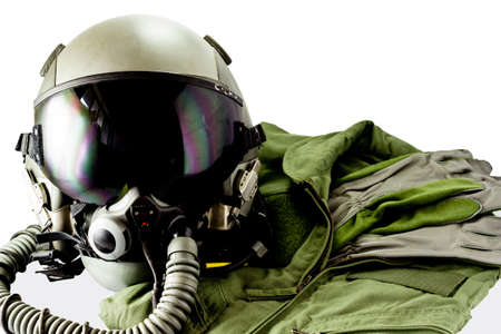 Military pilot flight suit with pilot glove & Flight helmet with oxygen mask