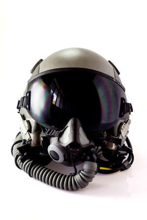 Aircraft helmet or Flight helmet with oxygen mask Imagens
